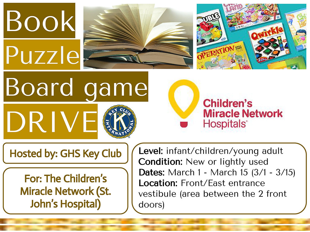 Book Puzzle Board Game Drive flyer for Key Club