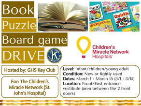 Key Club to Host Book/Puzzle/Board Game Drive March 1-15
