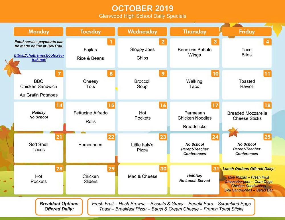 October menu for GHS