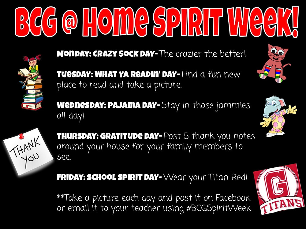 BCG At Home Spirit Week