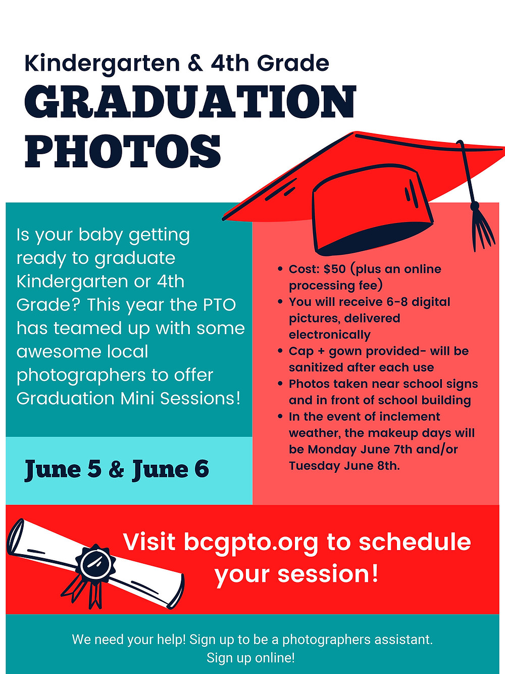 Kindergarten & 4th Grade Graduation Photo flyer