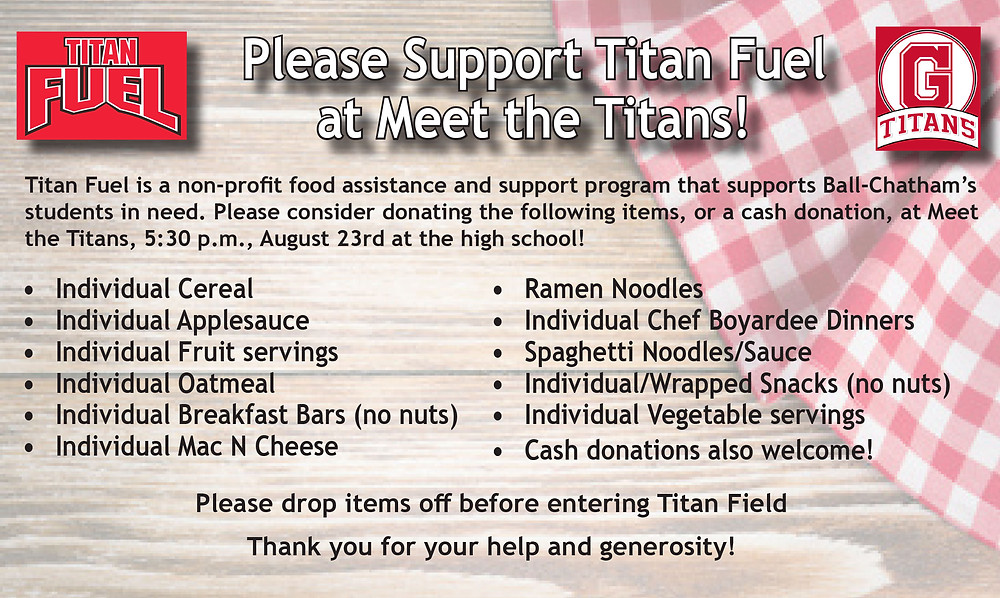 Food Drive for Titan Fuel at Meet the Titans