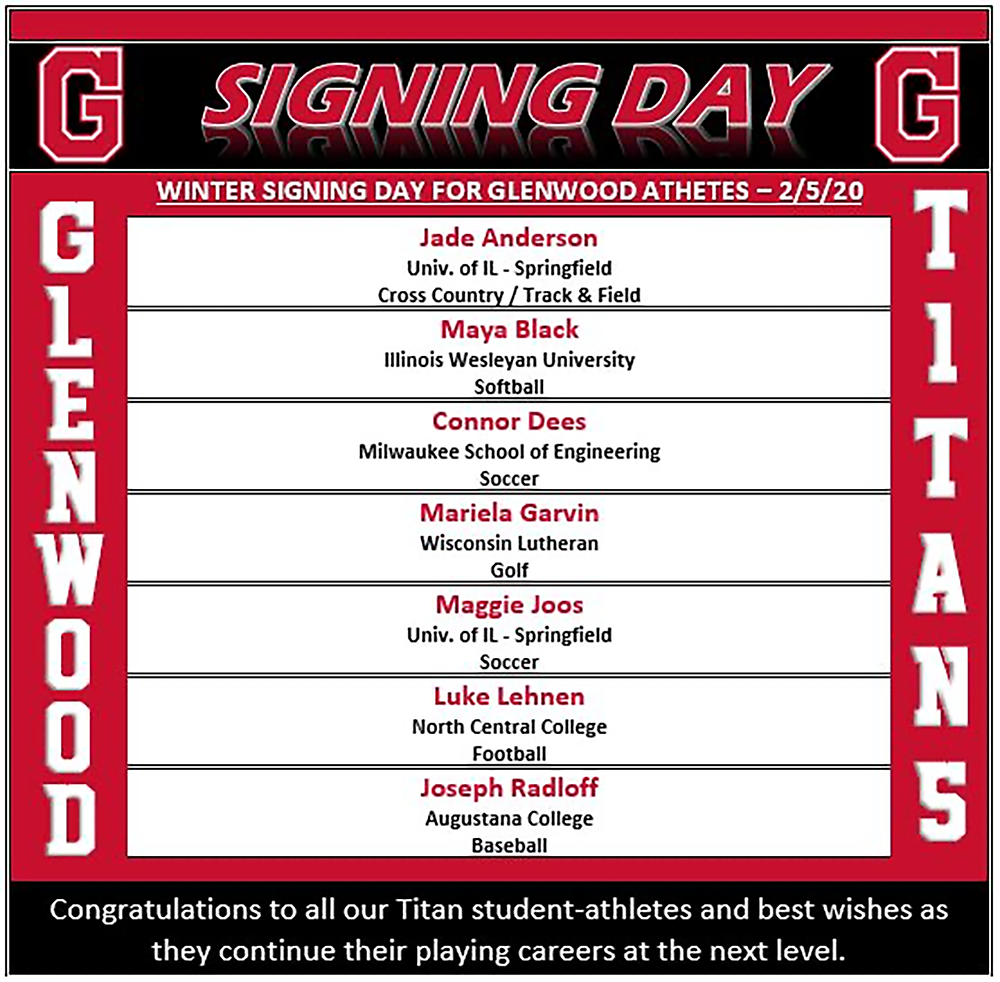 Winter Signing Day list of students