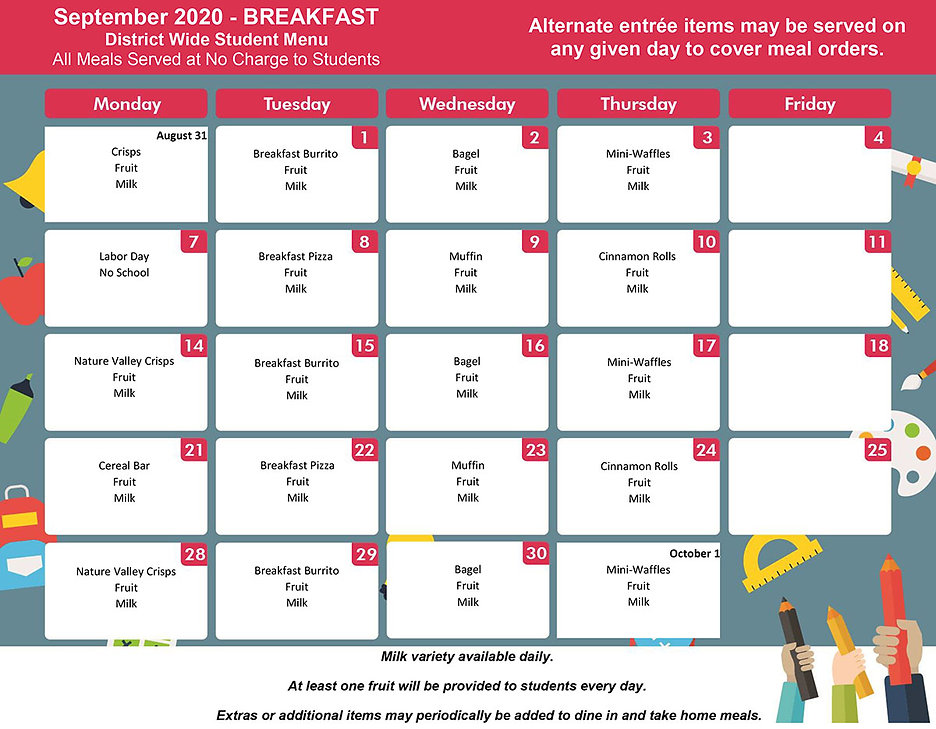September - District Wide Menu BREAKFAST