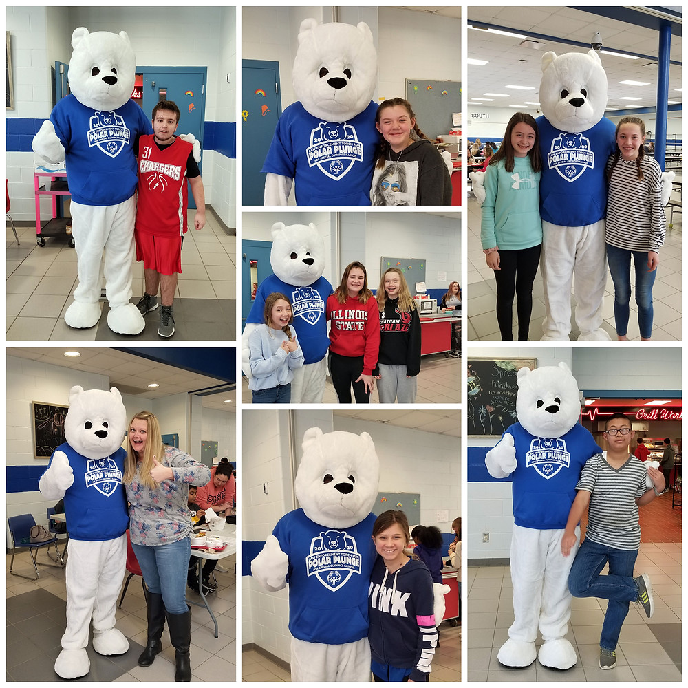 Polar Plunge Polar Bear mascot posing with GMS students
