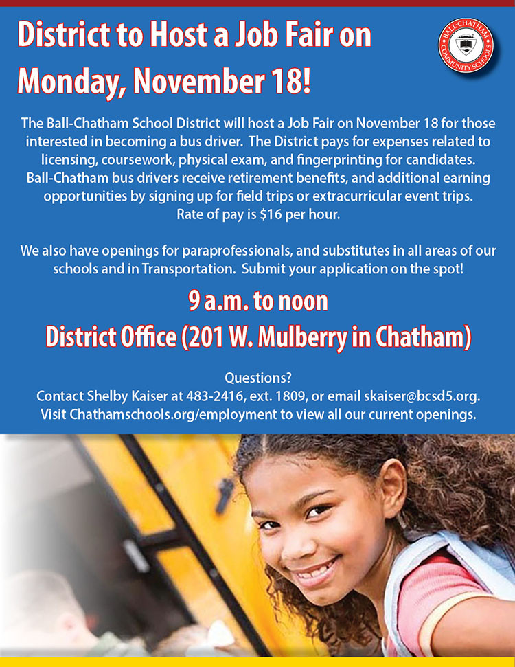 Ball-Chatham Job Fair on November 18
