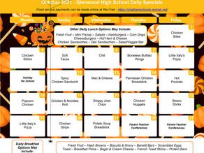October Lunch Menu for GHS