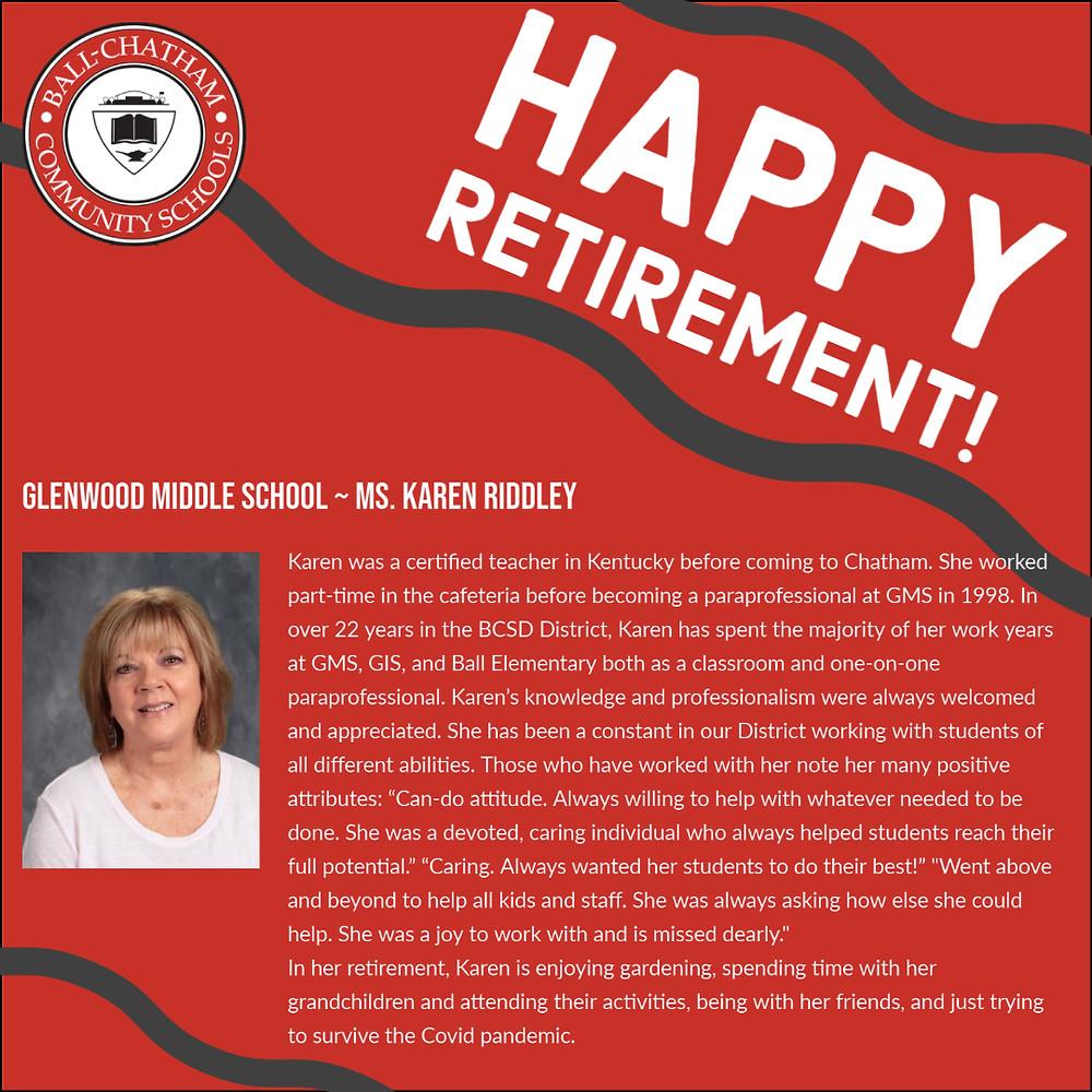Karen Riddley's retirement graphic