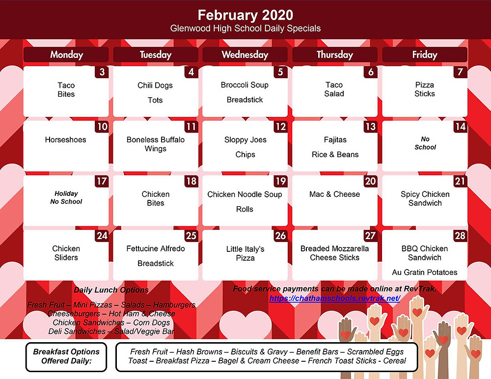 February Menu for GHS