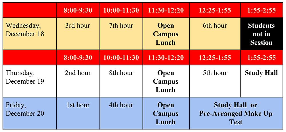 Fall final exam schedule