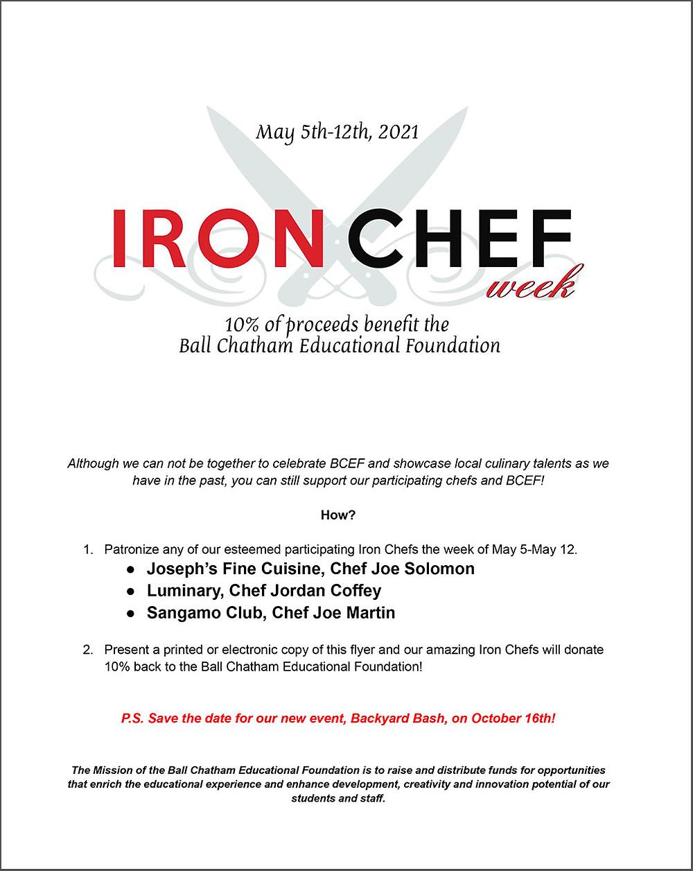 BCEF Iron Chef Week flyer