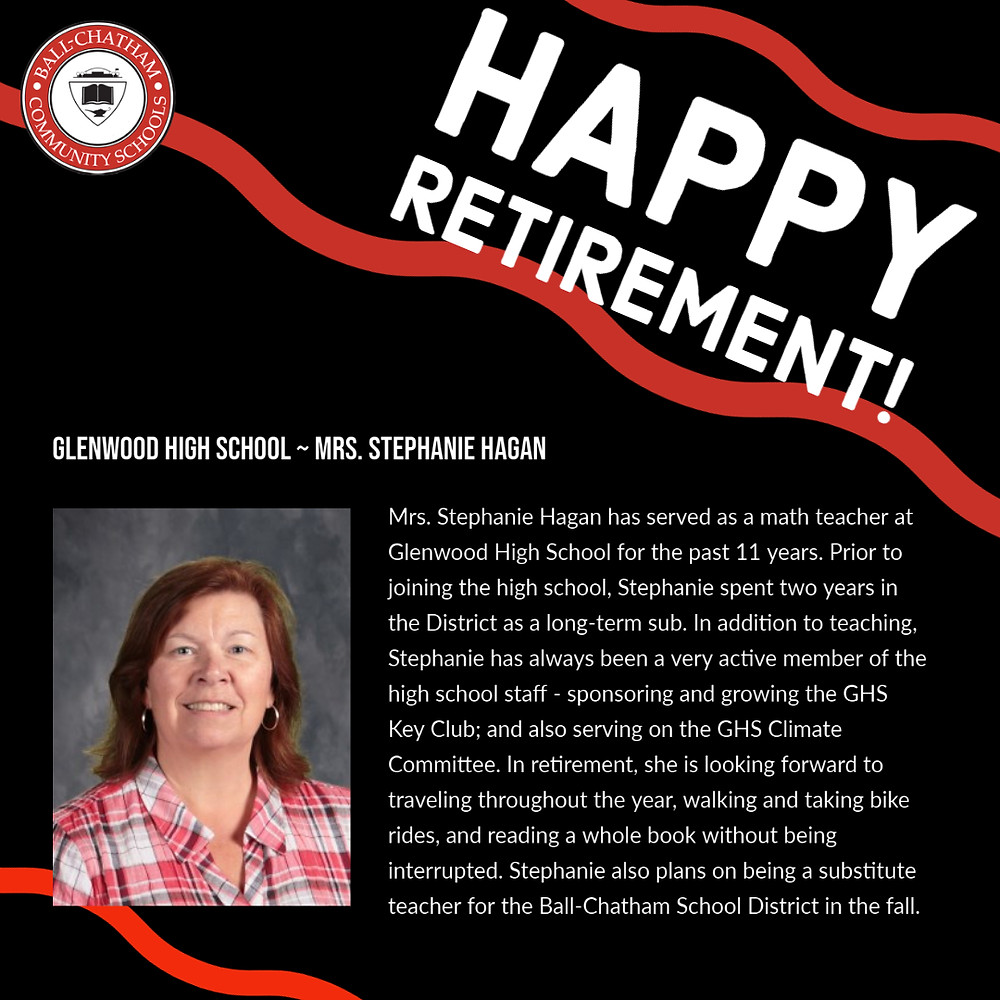 Stephanie Hagan retirement graphic