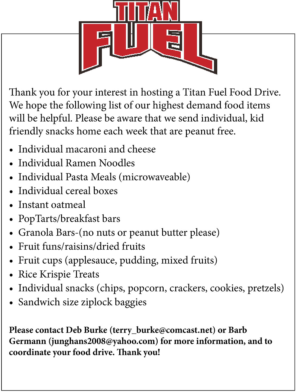 List of needed food items