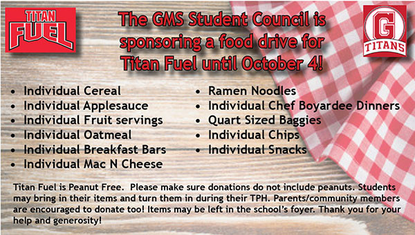 Student Council Food Drive for Titan Fuel