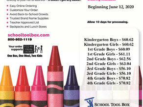 School Supply Kits Available for Purchase for BES/CES/GES/GIS/GMS