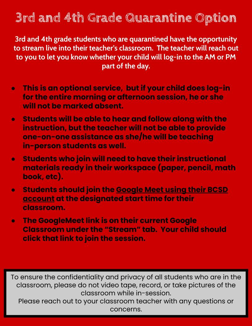 3rd & 4th grade quarantine option