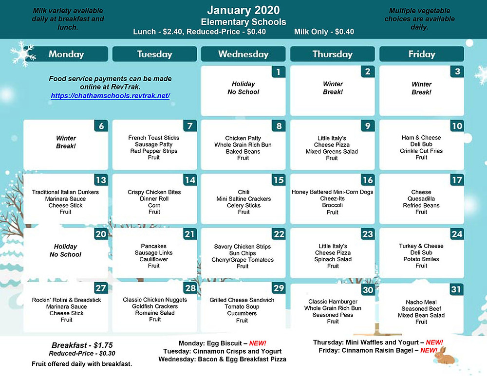 January Menu for BES/CES/GES