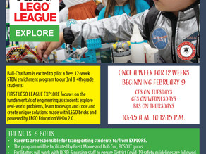 First Lego League Explore Coming to BES, CES & GES!