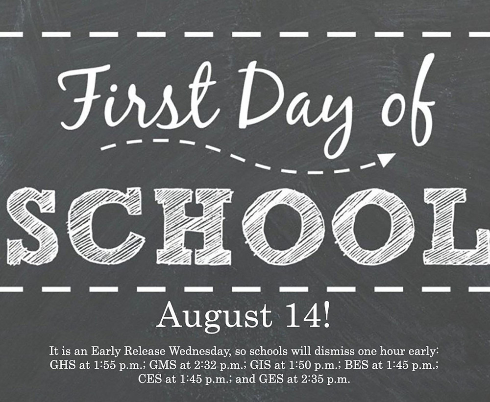 First Day of School is August 14!