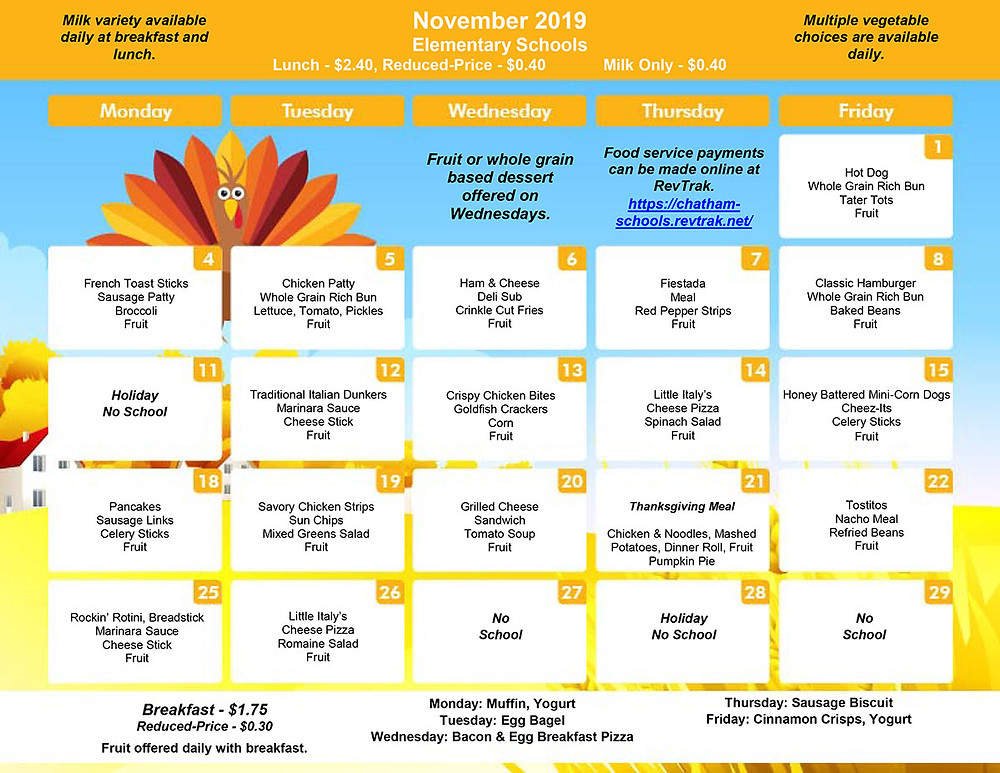 November menu for BES/CES/GES