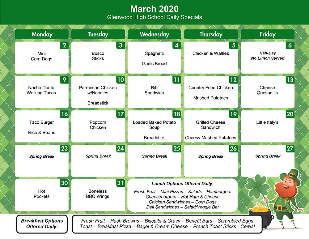 March menu for GHS