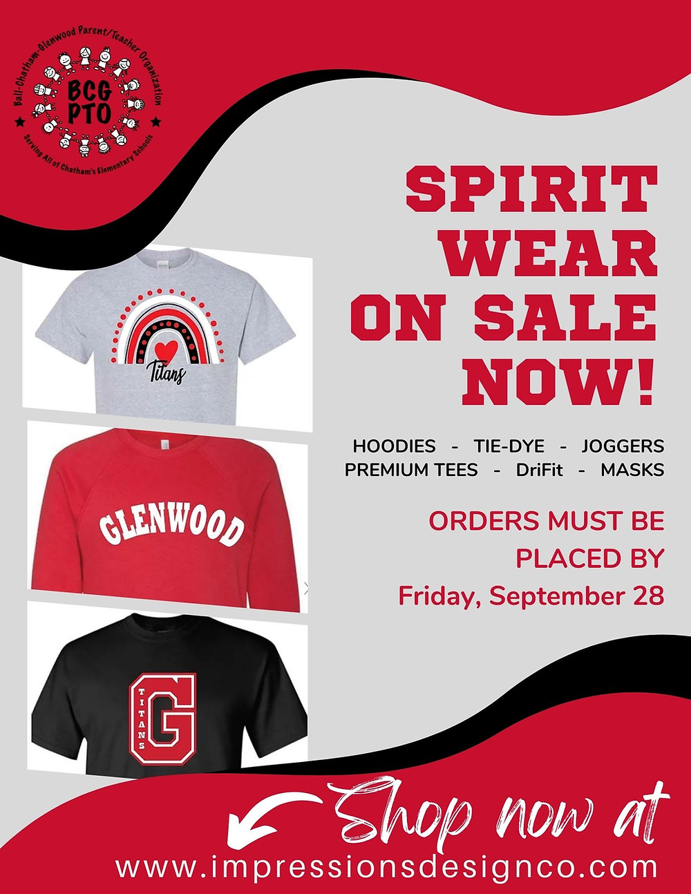 BCG and GIS/GMS PTO Spirit Wear Sale info graphic