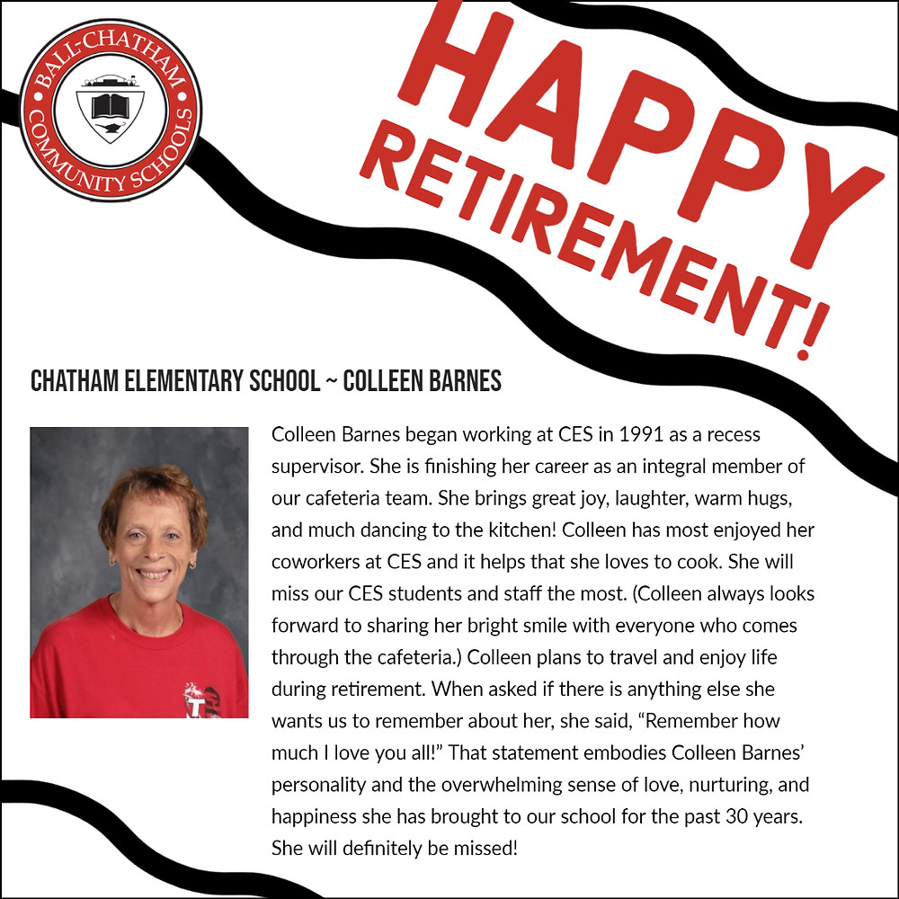 Colleen Barnes retirement graphic