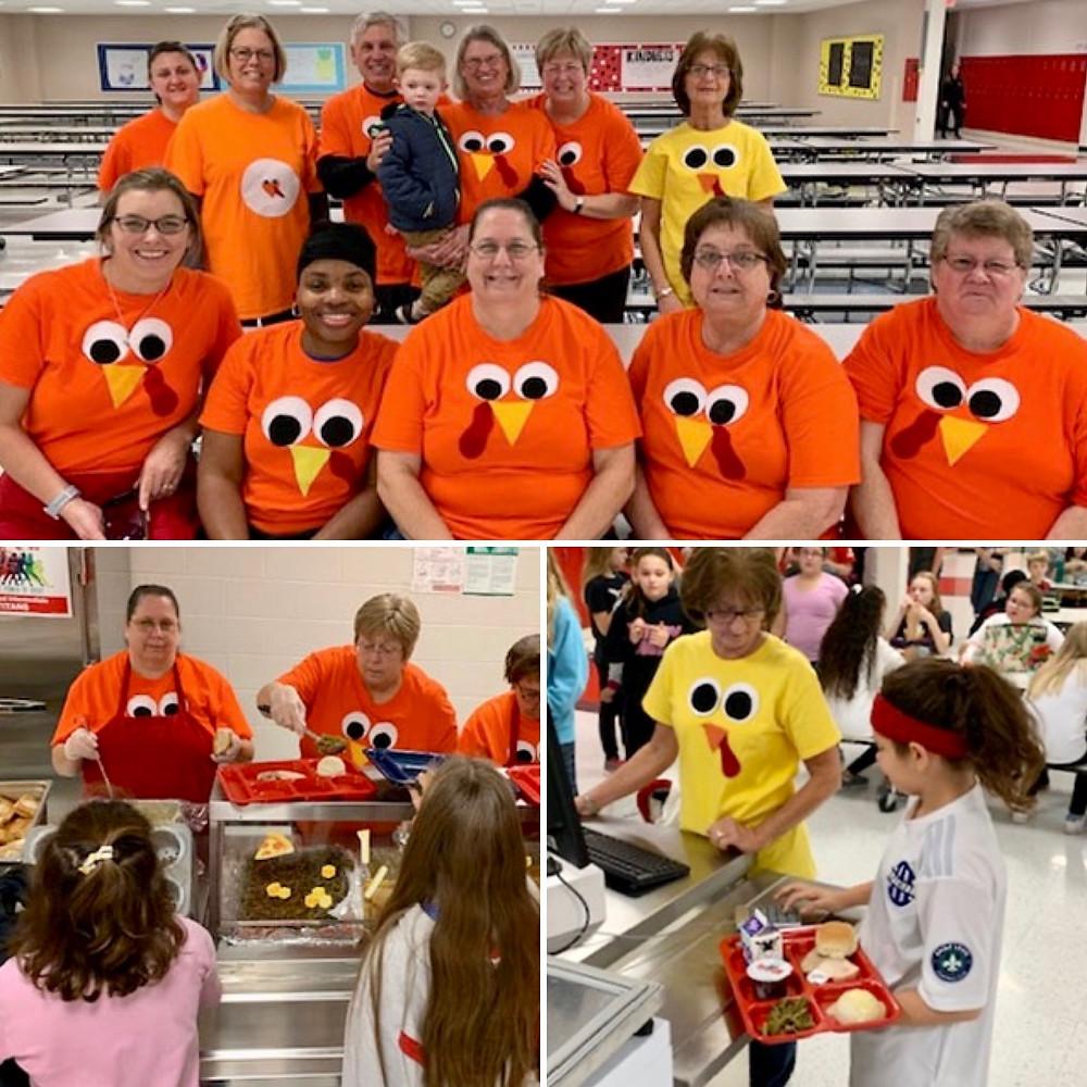 GIS cafeteria staff dressed up as turkeys