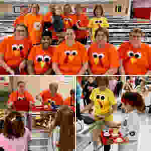 GIS cafeteria staff dressed up as turkeys