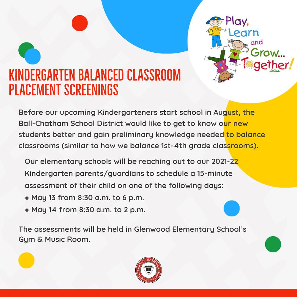 Kindergarten Balanced Classroom Placement Screenings flyer