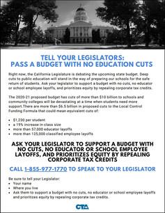 Call Your CA Legislators to NOT Make Cuts to Education!