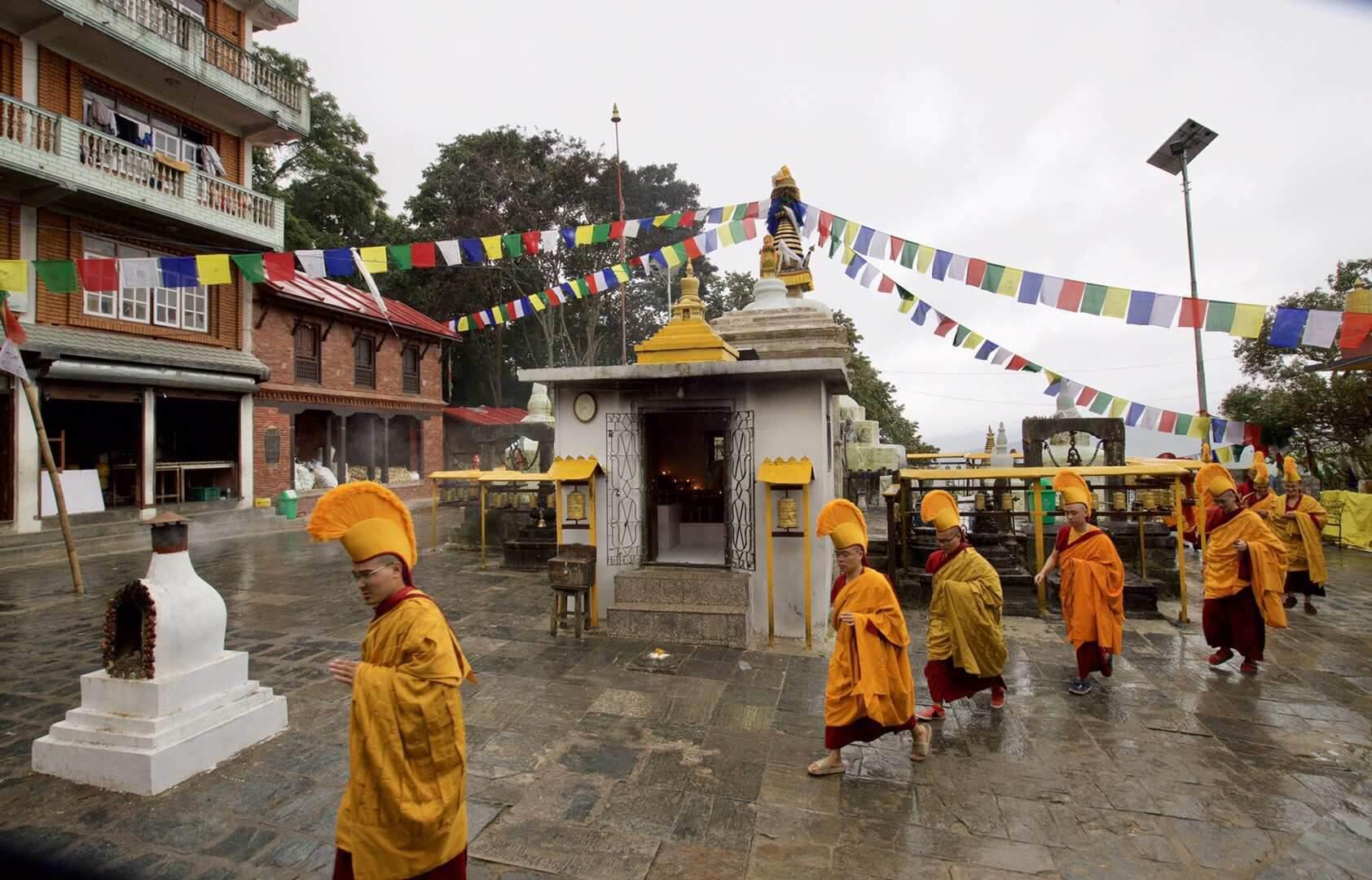 Circumambulating Namo Buddha Stupa
