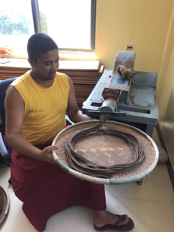 Making herbal incense at Clinic