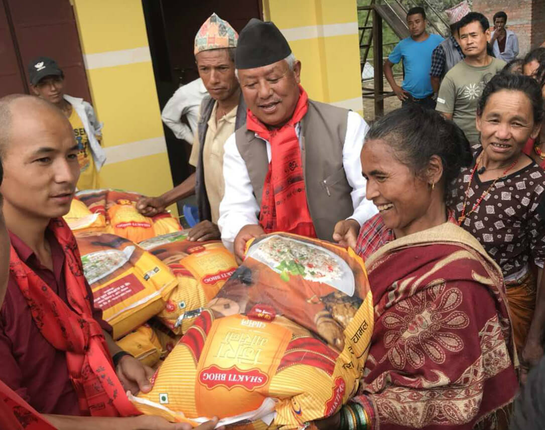 Offering rice to flood victims