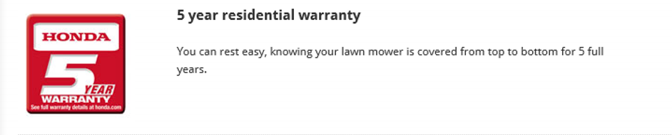 Honda warranty, Honda mower, walk behind mower, residential mower, Honda warranty