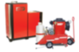 liquid propane heated, electric powered, hot water, pressure washers