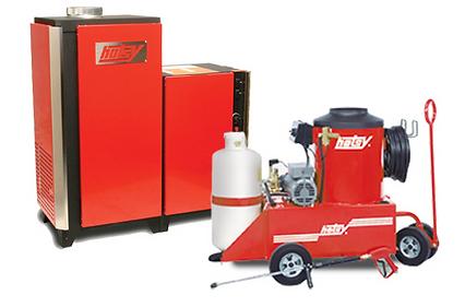 liquid propane heated, electric powered, hot water, pressure washers