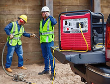 meets OSHA and ANSI regulations, Honda Generator, Honda Warranty, generators