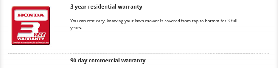 Honda warranty, Honda mower, residential mower, Warranty