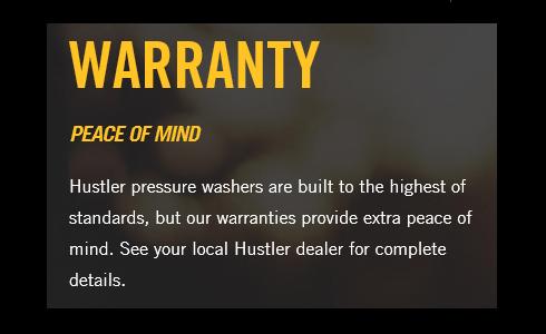 Hustler warranty, Hustler, Pressure Washer, Hustler pressure washer