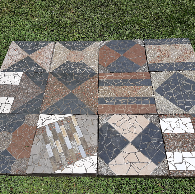 Assorted pavers in patio layout