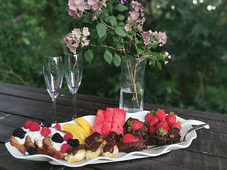 dessert platter on summer house counter.