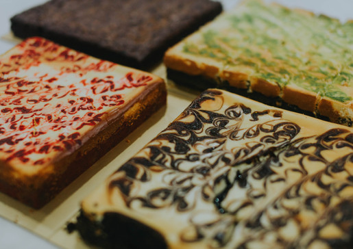From left: Red Velvet Cheese, Signature, Ondeh-Ondeh Cream Cheese, and Biscoff.