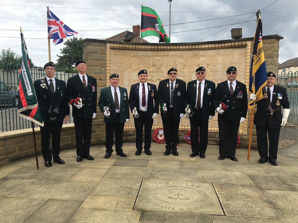RLKA Newbie Buglers at Rifles Memorial Wall Castleford
