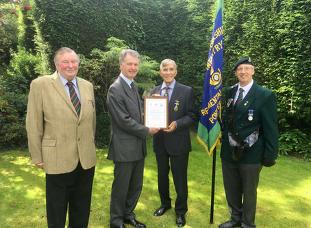 Commitment to Association Recognised by Major General CS Collins DSO OBE the Association President