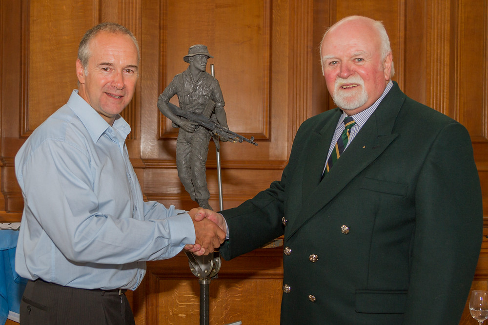 Stephen (L) the Sculptor and Percy Potts (R) at the unveiling of the maquette