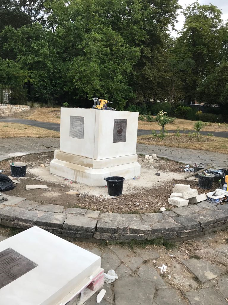 Plinth of the KOYLI Memorial under construction