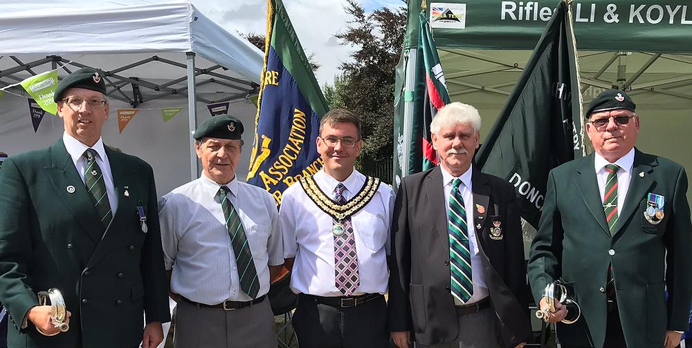 Association Members with Mayor of Edlington Cllr Robert Reid, his father Robert Morris Reid and uncle Jim Reid both ex KOYLI and 2LI