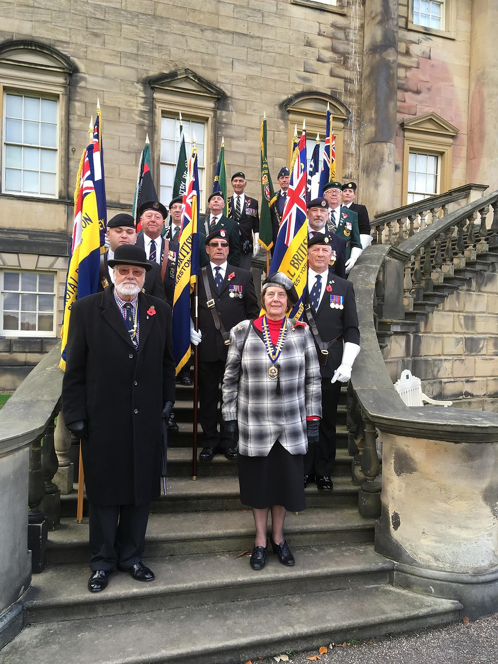 Rifles, Light Infantry and KOYLI Association Standards on parade at Nostell Priory
