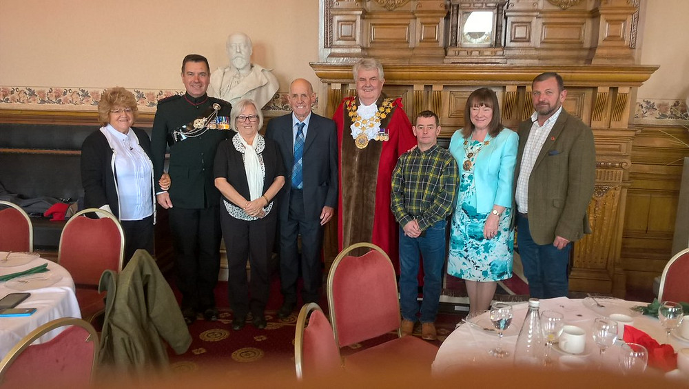 Mayor of Kirklees with 4 Generations of Sjt John William Ormsby VC and a Rifles Officer